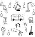 Tools school hand draw in doodle vector image