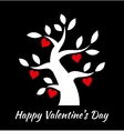 Valentines day vintage tree with hearts icons vector image