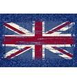 Grunge British flag on jeans background vector image vector image