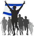 Athlete with the Israel flag at the finish vector image vector image
