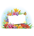 Arrangement of flowers with empty greeting card vector image