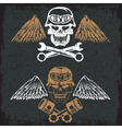 biker theme label with pistons wrenches and skulls vector image