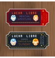 Vintage Lucha Libre tickets with mexican vector image