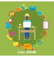 Call Center Support with Operator and Icon Set vector image