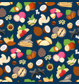 cartoon color nuts background pattern on a blue vector image