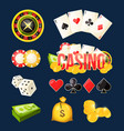 cartoon icon collection of different games casino vector image
