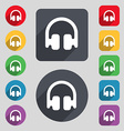 Headphones Earphones icon sign A set of 12 colored vector image