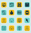 set of 16 online connection icons includes send vector image