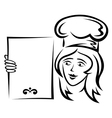 Waiter with blank menu vector image vector image
