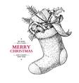Christmas sock with holly mistletoe fir tree vector image