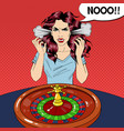 hysteric woman behind roulette table vector image