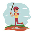 physical education - sport boy play baseball vector image