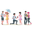 set of different couples and families vector image