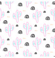 cactus plant neon seamless pattern vector image