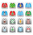 Ugly Christmas sweater on jumper buttons set vector image