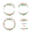 Watercolor floral frames wreath dividers vector image