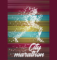 city marathon poster design concept with running vector image