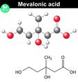 Mevalonic acid molecule vector image