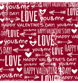 red background with valentine heart and wishes tex vector image