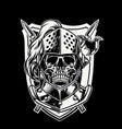 skull of knight warrior with crossed weapon vector image