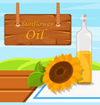 sunflower oil glass bottle of food oil on the vector image