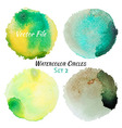 Watercolor Green and Yellow Colorful Circles Set vector image