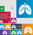 Lungs icon sign buttons Modern interface website vector image