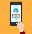 login to your account with smart phone vector image