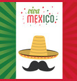 viva mexico greeting hat mustache flag background vector image