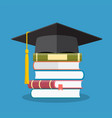 graduation cap on books stacked vector image vector image