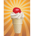 icecream cone with cherry vector image vector image