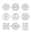 Black outline handmade labels set vector image