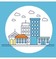 cityscape flat line icon vector image