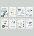 group of financial and infographic sheets vector image