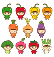 Set of kids in cute vegetables costumes vector image
