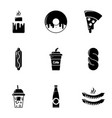 snacks icons set simple style vector image
