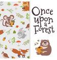 wild cartoon animals banner cute bear fox mouse vector image