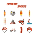 Extreme sports flat icon set vector image