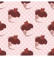 Tile chocolate cupcake and polka dots pattern vector image