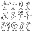 cartoon hand drawn stick man in different poses vector image