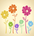 Colourful flowers pattern background Green yellow vector image