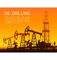 Drilling rigs and oil pumps at sunset vector image