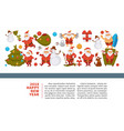 happy new year 2018 poster with funny santa vector image