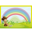 Boy and rainbow vector image vector image
