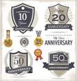 Anniversary retro labels vector image