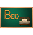 A blackboard with a bed vector image vector image