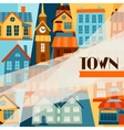 Town background design with cute colorful houses vector image