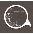 floral speech bubble dark4 vector image vector image