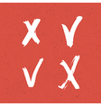 check marks red texture set vector image vector image