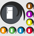 Refrigerator icon sign Symbols on eight colored vector image